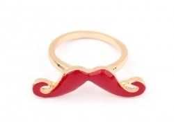 Dark red / bordeaux moustache ring