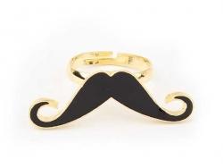 Bague longue moustache Noire