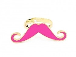 Pink long moustache ring