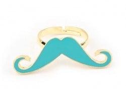 Bague longue moustache Bleue