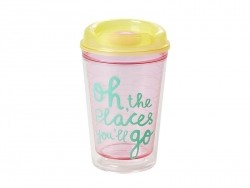 Plastic thermos mug - pink