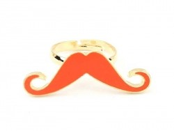 Red long moustache ring