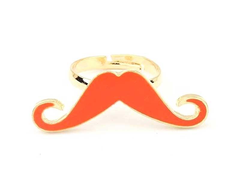 Bague longue moustache Rouge  - 1