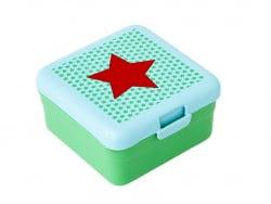 Viereckige Brotdose - grün mit rotem Stern