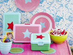 Lunchbox carré - rouge étoile bleu