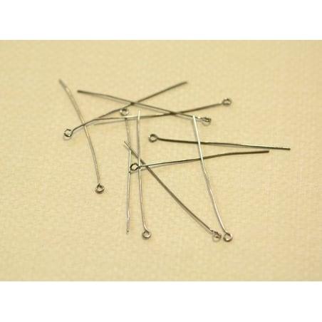 10 dark-silver-coloured eye pins - 70 mm