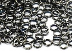 100 anneaux doubles argenté foncé - 7 mm