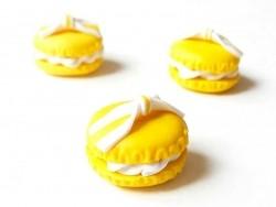 Cabochon macaron et son noeud - Jaune