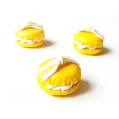 Cabochon macaron et son noeud - Jaune  - 2