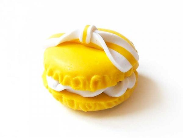 Cabochon macaron et son noeud - Jaune  - 1