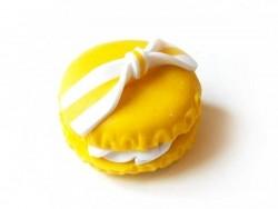 Cabochon macaron et son noeud - Jaune  - 3