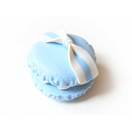 Cabochon macaron et son noeud - Bleu