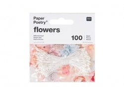 100 artificial flower pistils - white