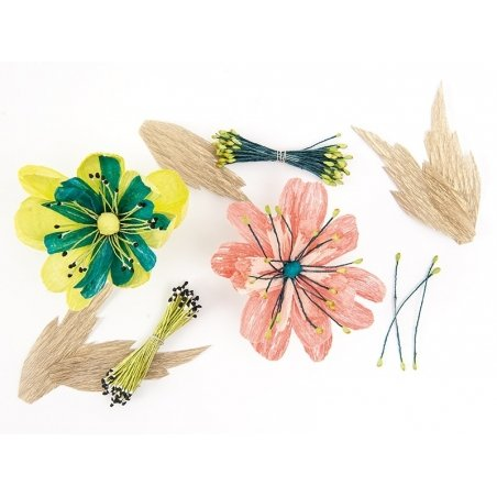 100 artificial flower pistils - yellow/pink