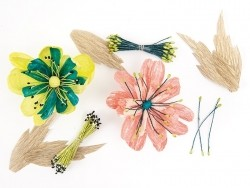 100 pistils de fleur artificiels - fuchsia / jaune