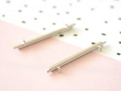 Embout pour tissage de perles argenté - 60 mm