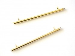 Gold-coloured slide end tube for woven beads - 60 mm