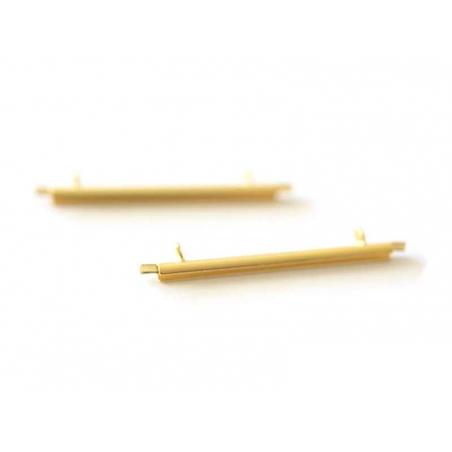 Gold-coloured slide end tube for woven beads - 35 mm