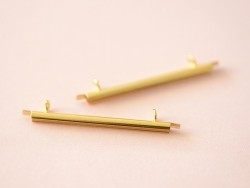 Gold-coloured slide end tube for woven beads - 35 mm