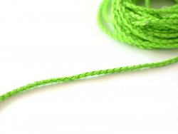 Cordon imitation cuir tressé - vert fluo