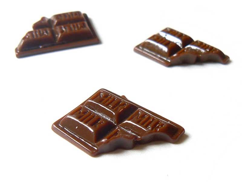 Cabochon tablette de chocolat croqué