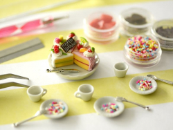 Set of miniature food decorations - Birthday cake
