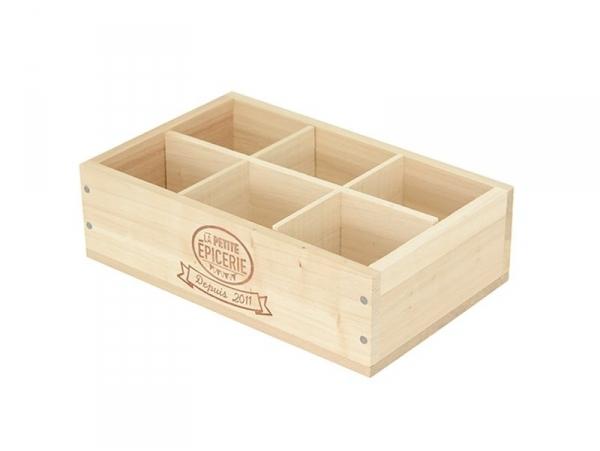 caissette en bois la petite epicerie 6 compartiments r dition. Black Bedroom Furniture Sets. Home Design Ideas