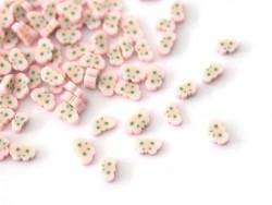 100 Polymer-Clay-Cane-Scheiben - rosafarbene Libelle