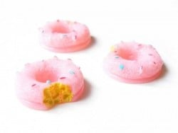 Nibbled pink doughnut cabochon