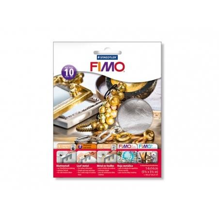 10 feuilles de métal pour dorure - argenté Fimo - 1