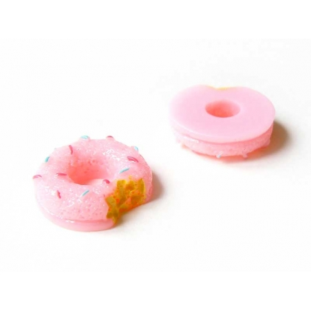 Nibbled pink doughnut cabochon