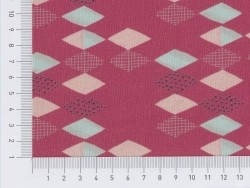 Patterned fabric remnant - raspberry red