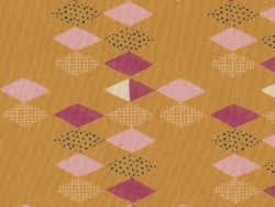 Patterned fabric remnant - mustard yellow