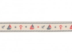 Grosgrain ribbon (1 m) - boats (20 mm)