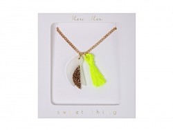 Bird and neon-coloured tassel necklace