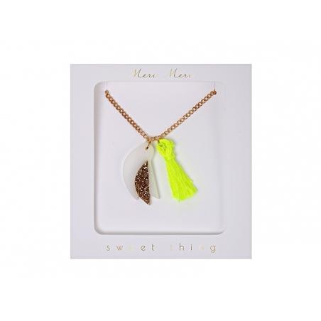 Collier oiseau et pompon fluo Meri Meri - 1