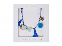 Blue plaited necklace