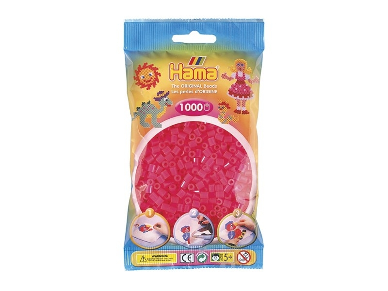 Sachet de 1000 perles HAMA Midi - rose fluo 32 Hama - 1