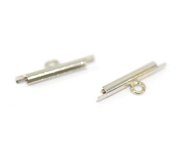 Silver-coloured slide end tube for woven bead bracelets - 15 mm