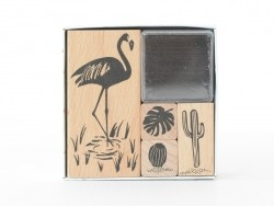 """Tropical Spring"" stamp set - flamingo"