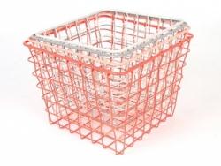 Set mit 4 viereckigen Metallkörben - orange, rosa, grau und weiß