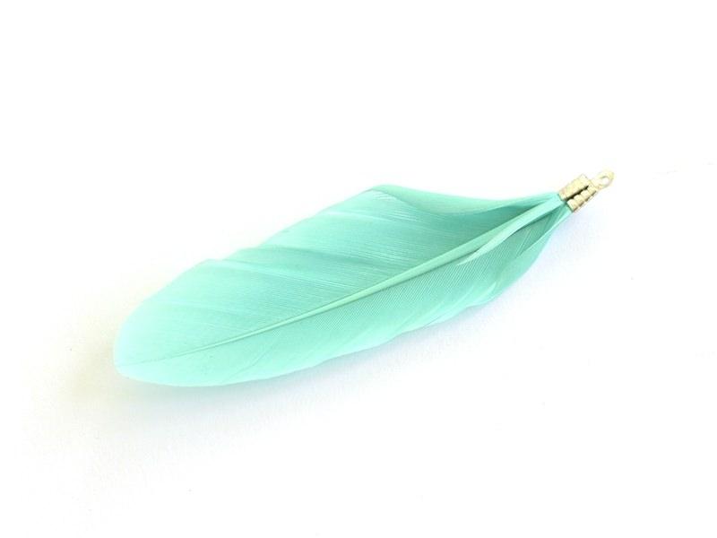 Acheter Une plume breloque - vert d'eau - 0,59€ en ligne sur La Petite Epicerie - 100% Loisirs créatifs