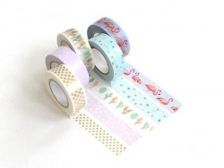 Set de 5 masking tapes - cactus / flamant rose Rico Design - 1