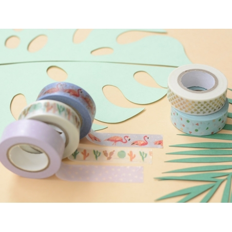 Set de 5 masking tapes - cactus / flamant rose Rico Design - 2