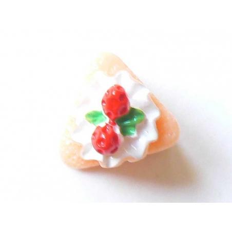 A piece of raspberry cake cabochon