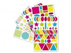 """20 planches de gommettes géométriques """"Baby"""" - vif & pastel"""