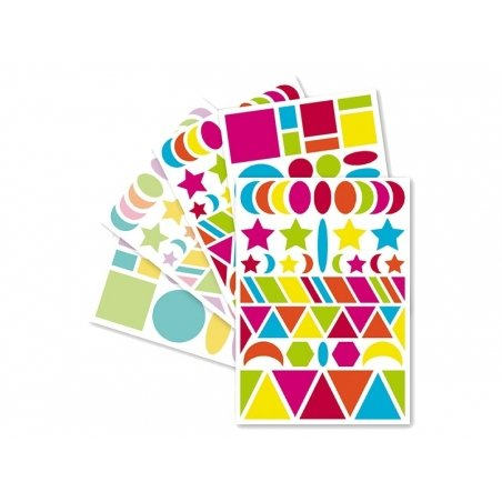 """20 sheets with geometric stickers - """"Baby"""" - bright colours and pastel colours"""