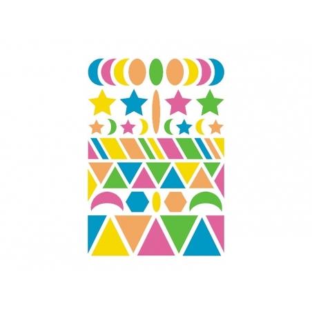 """20 planches de gommettes géométriques """"Baby"""" - fluo  - 2"""