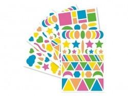 """20 planches de gommettes géométriques """"Baby"""" - fluo"""