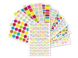 "20 sheets with geometric stickers - ""Initial"" - bright/pastel colours"